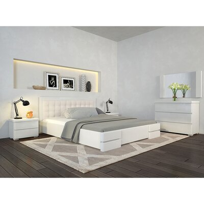 Двуспальная кровать Регина Люкс из бука (160*200, орех,+под механизм,25мм)