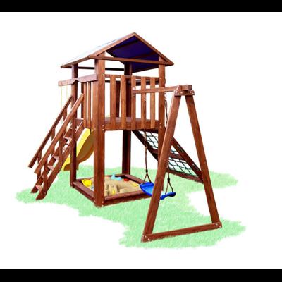 Детский игровой комплекс мини с сеткой, горкой и качелькой Babygrai -11