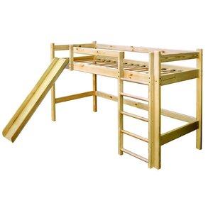 Двухъярусная кровать-чердак из сосны с горкой