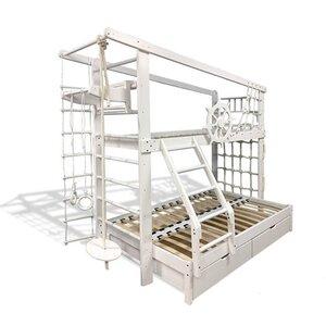 Двухъярусная спортивная кровать Капитан увеличенная с ящиками и навесными элементами в белом цвете