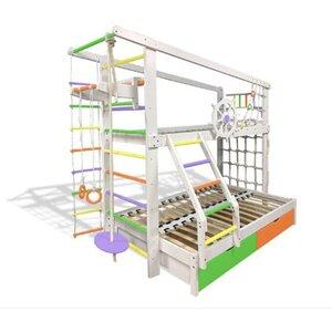 Двухъярусная спортивная кровать Капитан увеличенная с ящиками и навесными элементами цветная