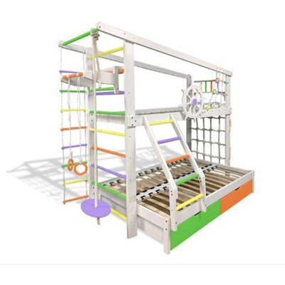 Двухъярусная спортивная кровать Капитан увеличенная с ящиками и навесными элементами цветная производства Бебиграй  - главное фото