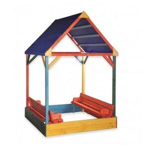 Песочница с крышкой и тентовой крышей разноцветная