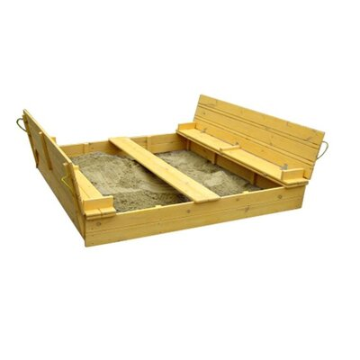 Песочница из сосны 200х200см с крышкой в тонировке груша производства Бебиграй  - главное фото