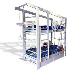 Двухъярусная кровать Капитан с ящиками и навесными элементами