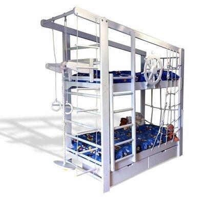 Двухъярусная кровать Капитан с ящиками и навесными элементами производства Бебиграй  - главное фото