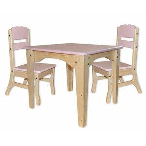 Столик и 2 стульчика комбинированные розовые