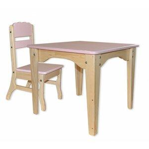 Столик и стульчик комбинированный розовый