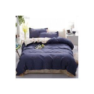 """Постельный комплект """"Washed Cotton"""" 003 Blue whale Киты"""
