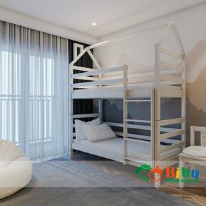 Двухъярусная кровать домик Лайт 80*190, без ящиков (цвет белый)