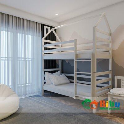 Двухъярусная кровать домик Лайт 80*190, без ящиков (цвет белый) производства Bibu - главное фото