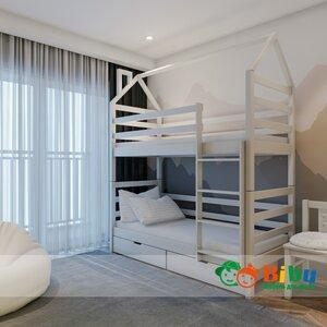 Двухъярусная кровать домик Лайт 80*190, с ящиками (цвет белый)