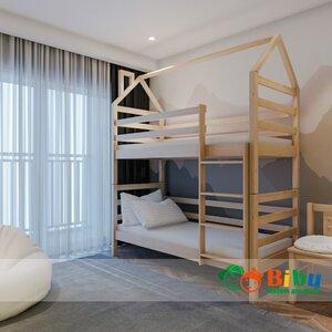 Двухъярусная кровать домик Лайт 80*190, без ящиков (цвет бук)