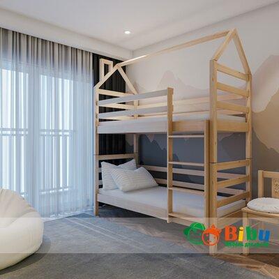 Двухъярусная кровать домик Лайт 80*190, без ящиков (цвет бук) производства Bibu - главное фото