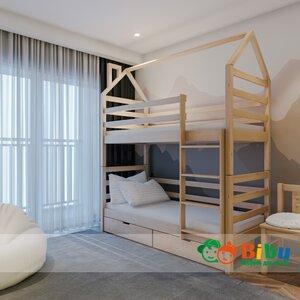 Двухъярусная кровать домик Лайт 80*190, с ящиками (цвет бук)