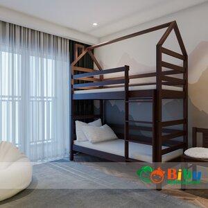 Двухъярусная кровать домик Лайт 80*190, без ящиков (цвет орех)