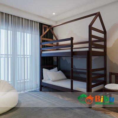 Двухъярусная кровать домик Лайт 80*190, без ящиков (цвет орех) производства Bibu - главное фото