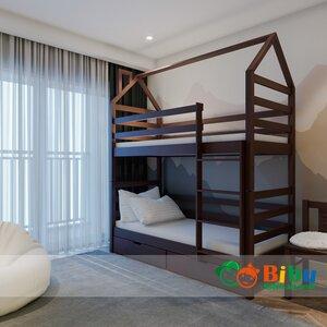 Двухъярусная кровать домик Лайт 80*190, с ящиками (цвет орех)