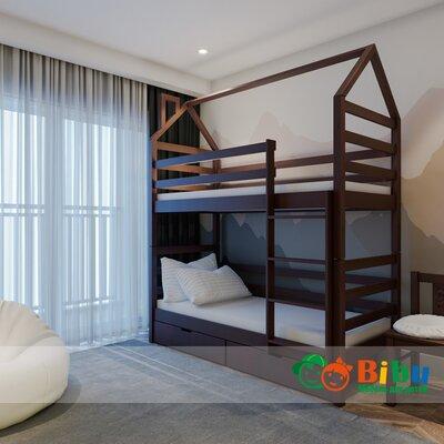 Двухъярусная кровать домик Лайт 80*190, с ящиками (цвет орех) производства Bibu - главное фото