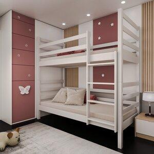 Двухъярусная кровать-трансформер Лайт 80*190, без ящиков (цвет белый)