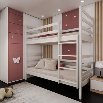 Двухъярусная кровать-трансформер Лайт 80*190, без ящиков (цвет белый) производства Bibu - главное фото