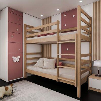 Двухъярусная кровать-трансформер Лайт 80*190, без ящиков (цвет бук) производства Bibu - главное фото