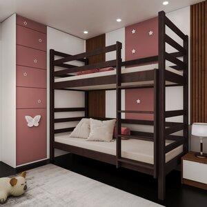 Двухъярусная кровать-трансформер Лайт 80*190, без ящиков (цвет орех)