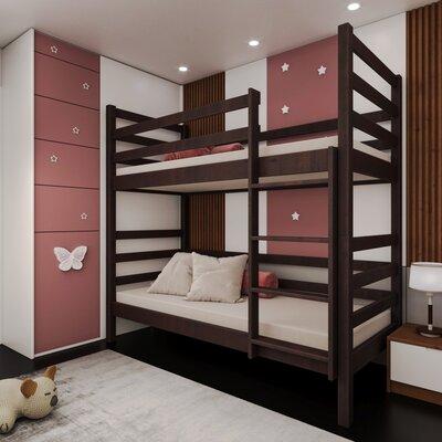 Двухъярусная кровать-трансформер Лайт 80*190, без ящиков (цвет орех) производства Bibu - главное фото