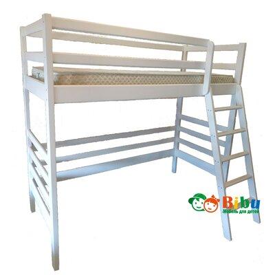 Фото кровать чердак Моно из ольхи в белом цвете