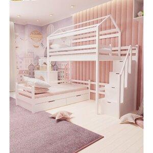 Кровать детская двухъярусная FeliFam Classic Конструктор FC-515W Белый