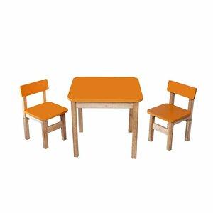 Детский Эко набор Стол деревянный цветной и 2 стульчика (оранжевый)