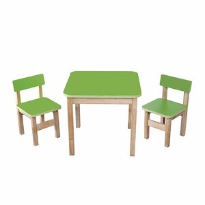 Детский Эко набор Стол деревянный цветной и 2 стульчика (салатовый)