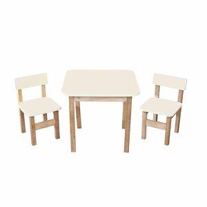 Детский Эко набор Стол деревянный цветной и 2 стульчика (ваниль)