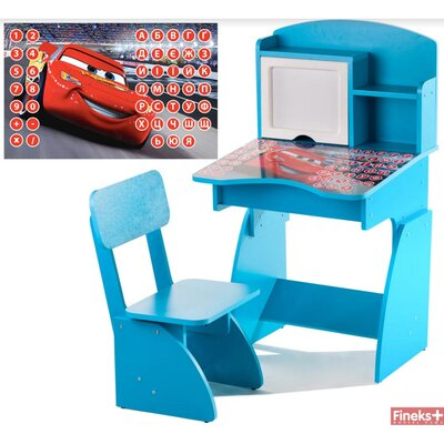Детская Парта растущая + стульчик, Тачки