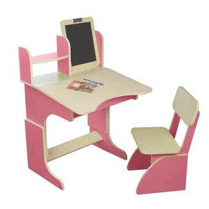 Парта с мольбертом растущая + стульчик (розовая)
