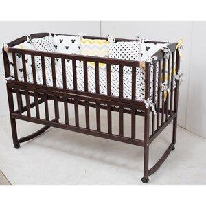 Детская кроватка Ameli (с откидным боковинами,дугами,колеса) 60*120см, цвет крашенная