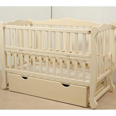 Детская кроватка Natali на подшипниках (с откидной боковиной,ящик) 60*120 см, цвет крашеная производства Гойдалка - главное фото