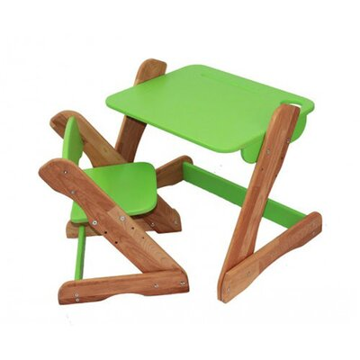 Детский комплект растущий столик и стул,зеленый