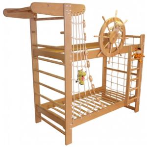 Двухъярусная кровать Пират с крутящимся штурвалом из ясеня