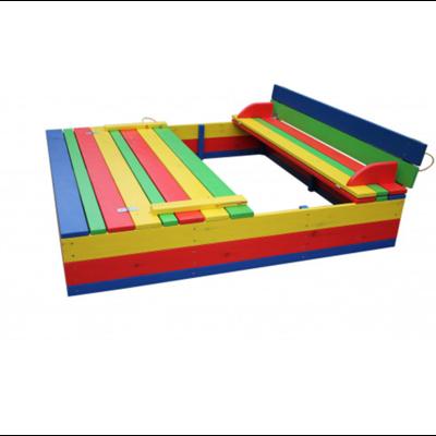 Песочница с крышкой цветная 150х150х36 производства Irelle - главное фото