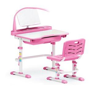 Комплект парта и стульчик Evo-kids Evo-17 (с лампой) розовый