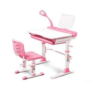 Комплект парта и стульчик Evo-kids Evo-19 (с лампой) розовый