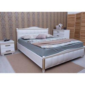 Двуспальная кровать Прованс с фрезеровкой (мягкая спинка квадраты)