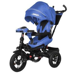 Трехколесный велосипед TILLY Impulse с пультом и усиленной рамой T-386/1 синий лен