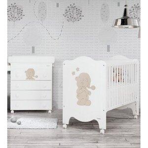 Кроватка Trama Sleepy Bear Matt White beige