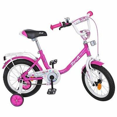 """Двухколесный велосипед Profi Flower 14"""" розовый,сиреневый"""