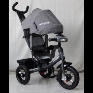 Трехколесный велосипед Crosser One Т1 надувные колеса серый меланж Эко