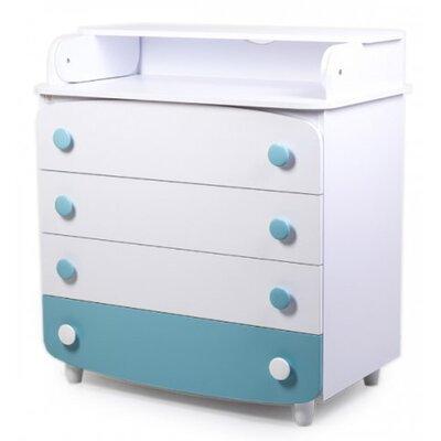 Комод-пеленатор Верес из ДСП (900) цвет бело-бирюзовый производства Верес - главное фото